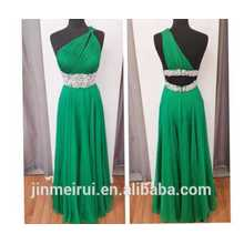 Emerald Green One Shoulder Chiffon Beaded Prom Dress 2014 K17