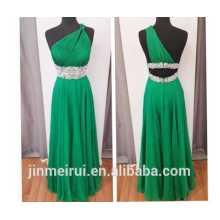 Verde esmeralda un hombro gasa con cuentas vestido de fiesta 2014 K17