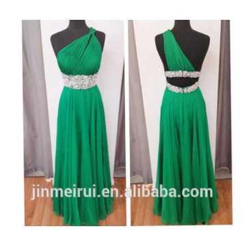 Emerald Green One Shoulder Chiffon Beaded Prom Dress 2014 K17