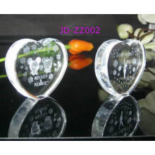 Crystal Heart Shape Paperweight with Cartoon 3D Inner Laser