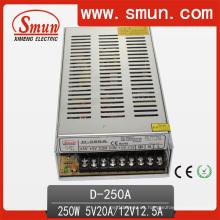 D-250A 5V 12V 250W de salida dual Fuente de alimentación de conmutación