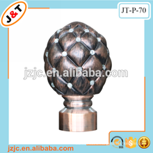 copper stage curtain pole with fancy resin diamond curtain finials