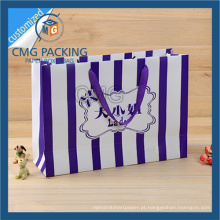 Saco de papel listrado com impressão de listras roxas (CMG-MAY-039)