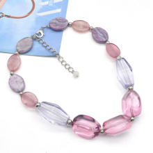 2021 new trendy spring summer collection purple pink rose red acrylic resin chain necklace