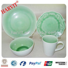 Gres de cerámica en relieve flor y crackle glaze dinner set