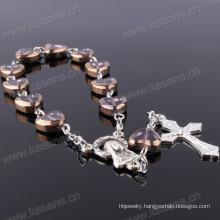 China Factory Good Quality Heart Shape Crystal Rosary Bracelet