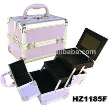 Caisse cosmétique aluminium violet avec 2 plateaux et d'un miroir à l'intérieur, les options de couleur différente