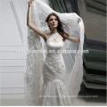 Suzhou usine fournir une épaule dentelle perlée robe de mariée en dentelle sirène avec long train
