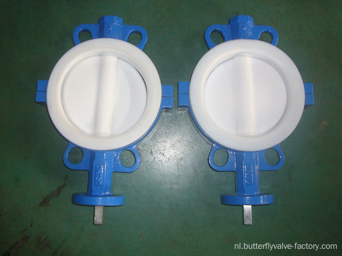 Volledige PTFE Coated Wafer Type Butterfly Valve