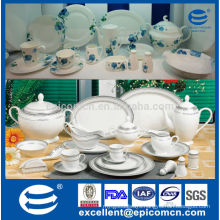 silver rim new bone china dinnerware whole set from factory made