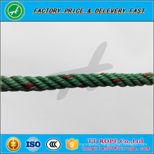 3 strands 9mm red line green color pp recycled rope