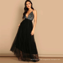 Sequin Top Cami Maxi Tulle Sexy Long Evening Dresses