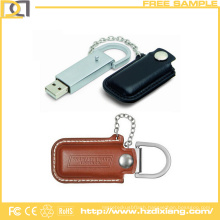 Promotional 8GB Custom Logo Leather USB Flash Drive