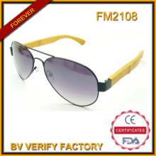 FM2108 New Design Metal Frame Bamboo Temple Sunglasses Protect Your Eye