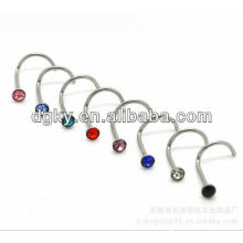 """""""L"""" shape bent zircon stainless steel nose rings body piercing jewelry"""