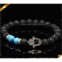 Hecho a mano pulseras de diseño mano resultados lava perlas pulseras (CB0114)