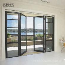 Алюминиевые распашные двери классического дизайна с двойными створками