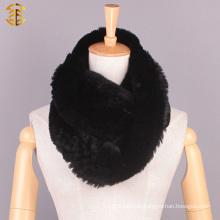 Newest Genuine Ladies Hand Knitted Rex Rabbit Fur Exquisite Scarf Warmer Neckwear