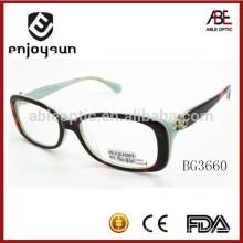 2015 nuevas gafas ópticas de encargo del acetato de la señora del diseñador del estilo con CE & FDA