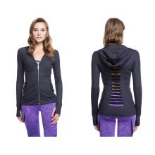 87% Nylon 13% Spandex avec Power Mesh Détails Veste de sport femme de mode
