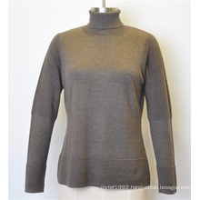 Women Mixed Stitch Turtleneck Pullover Knit Sweater