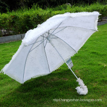 Embroidered high quality parasol bridal party wedding lace umbrella