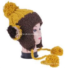 Sweet Girls Multicolor tejido a mano con Velvet Wool Ball Earflap Hat