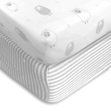 healthy material 100% cotton queen size fitted crib sheet soft-fit baby size fitted sheet