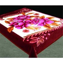 100% Polyester Violet Fleur Couverture en peluche avec bordure en crochet