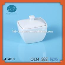 Recipiente de cerámica cuadrado blanco, pote al por mayor del azúcar con la tapa,