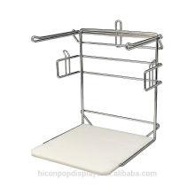 Ajudá-lo a vender e avaliar a embalagem Chorded loja de varejo Metal Wire Counter Display Rack para sacos