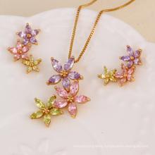 61268 fashion xuping wholesale american diamond indian bridal gold jewelry sets aesthetic olive green diamond