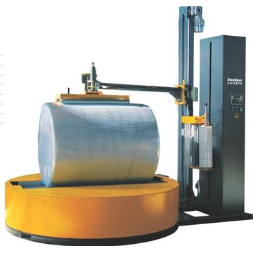 Roller reel type film wrapping machine use for packing paper roller