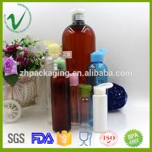 Bouteille de shampooing en plastique rond en PET de haute qualité avec capuchon