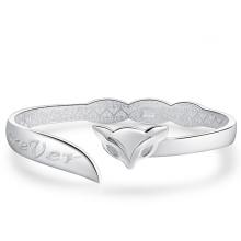 Damen Modische Fox Sterling Silber Cuff Armband Geschenk für Sie