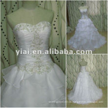 JJ2686 weißes Schatz-Qualitäts-langes Zug-Ballkleid-Organza-Hochzeitskleid 2015 späteste Kleidentwürfe im Porzellan