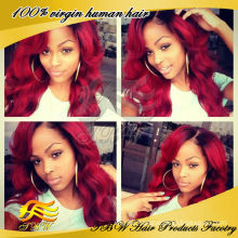 2014 New Arrival Factory Price #1b/#burgundy Peruvian Human Hair Ombre Wig