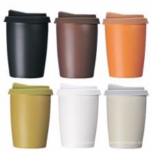 Tasse en céramique à double paroi de qualité alimentaire FDA avec couvercle en caoutchouc et support