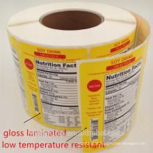 etiqueta feita sob encomenda material da etiqueta da impressão a cores do papel / vinly / PVC / PP / ANIMAL DE ESTIMAÇÃO / BOPP com baixo preço