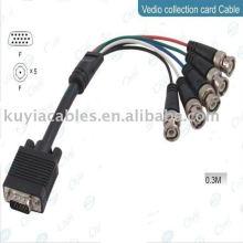 HD15 männliches VGA zu 5BNC Kabel RGBHV Videokabel HDTV Schnur 30CM für CCTV System