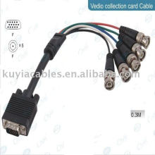 HD15 macho VGA a cable 5BNC Cable de vídeo RGBHV Cable de HDTV 30CM para sistema de CCTV