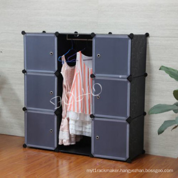 Black Color Wardrobe Assemble Without Use Any Tool (FH-AL0031-6)