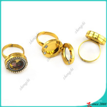 Floating Magnets Locket Ring Gold Color Jewelry (LR16041207)