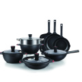 manufacture wholesale 10pcs round home kitchen black non stick cookware set