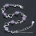 Frauen 925 Sterling Silber Lila Diamant Herzförmigen Armband