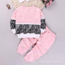 2021 Autumn Children′s Wear New Lace Splicing Long Sleeve Sweatshirt Pants Two Children′s Set Wholesale