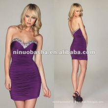 Stunning with a Heavily Beaded Jeweled Neckline,Jersey Stretch Fabric Cocktail Dress