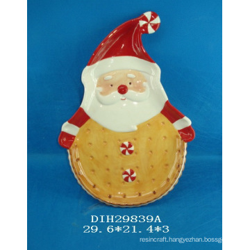 Antique Santa Ceramic Hand-Painted Cookie/Candy/Pie Plate