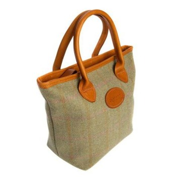 Bolso tweed con estampado de cuadros y estilo country