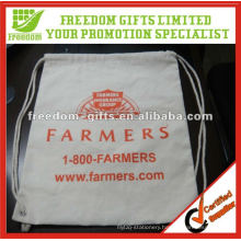 Customised Size OEM Logo Cotton Drawstring Bag
